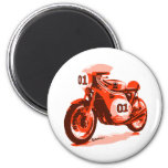 Red Vintage Racing Motorcycle 6 Cm Round Magnet