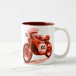 Red Vintage Racing Motorcycle Coffee Mugs