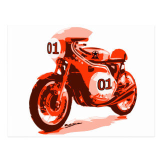 Red Vintage Racing Motorcycle Postcard