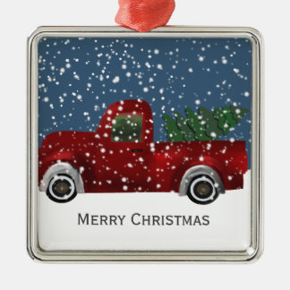 Red vintage Retro Truck and  Christmas Tree Christmas Ornament