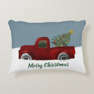 Red vintage Retro Truck and  Christmas Tree Decorative Cushion
