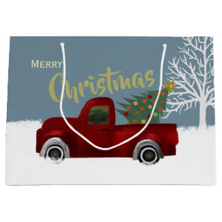 Red vintage Retro Truck and  Christmas Tree Large Gift Bag