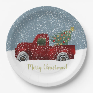 Red vintage Retro Truck and  Christmas Tree Paper Plate