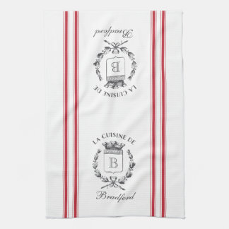Red Vintage Style French Sack with Custom Name Tea Towel