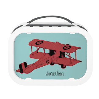 red vintage toy biplane lunch boxes