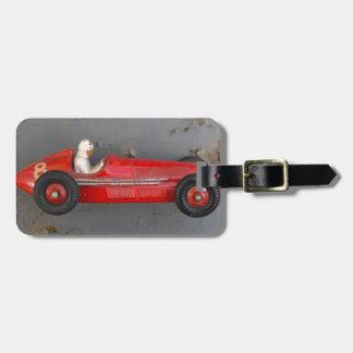 Red vintage toy car bag tag