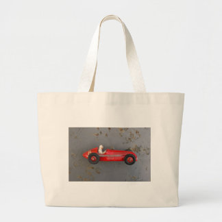 Red vintage toy car large tote bag