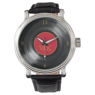 red vinyl record retro initials watch