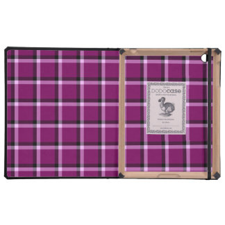 Red-Violet Check Pattern Case For iPad
