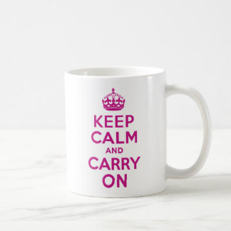 Red-Violet Keep Calm and Carry On Coffee Mug