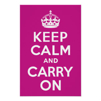 Red-Violet Keep Calm and Carry On Poster