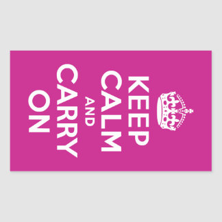 Red-Violet Keep Calm and Carry On Rectangular Sticker