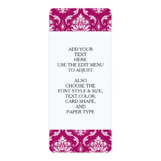 Red-Violet White Classic Damask Pattern 10 Cm X 24 Cm Invitation Card