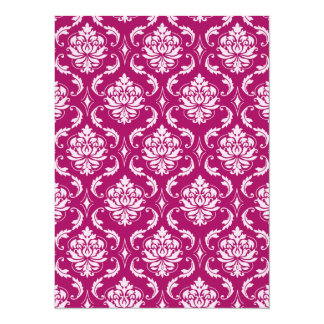 Red-Violet White Classic Damask Pattern 14 Cm X 19 Cm Invitation Card