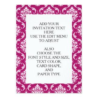 Red-Violet White Classic Damask Pattern 17 Cm X 22 Cm Invitation Card