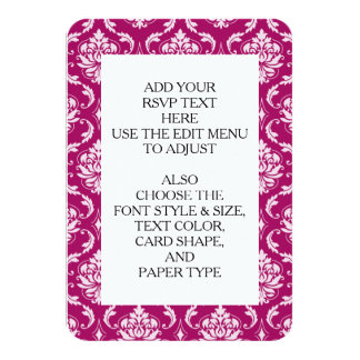 Red-Violet White Classic Damask Pattern 9 Cm X 13 Cm Invitation Card