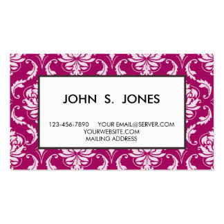 Red-Violet White Classic Damask Pattern Business Cards