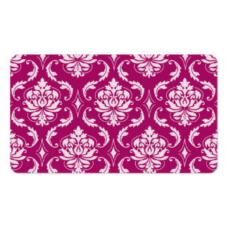 Red-Violet White Classic Damask Pattern Business Card Template