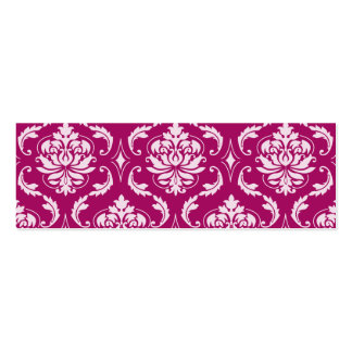 Red-Violet White Classic Damask Pattern Business Card