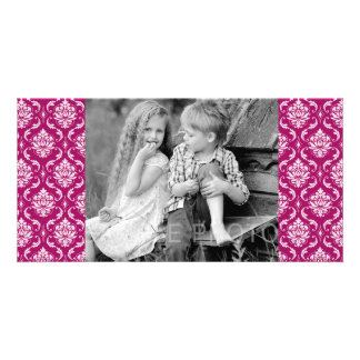 Red-Violet White Classic Damask Pattern Customized Photo Card