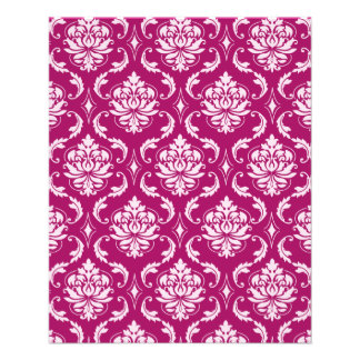 Red-Violet White Classic Damask Pattern Full Color Flyer