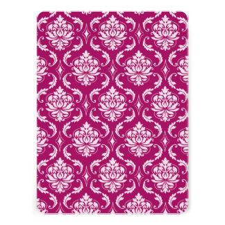 Red-Violet White Classic Damask Pattern Custom Invites