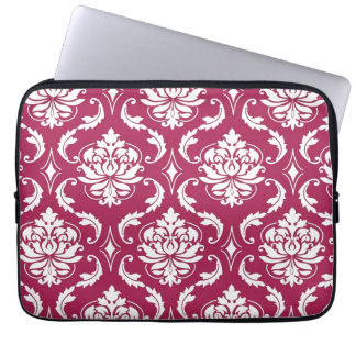 Red-Violet White Classic Damask Pattern Laptop Sleeve