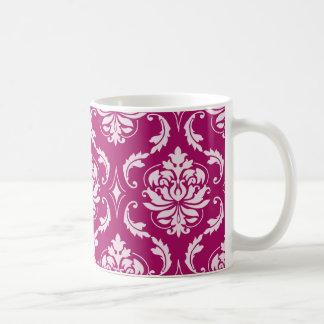 Red-Violet White Classic Damask Pattern Mug