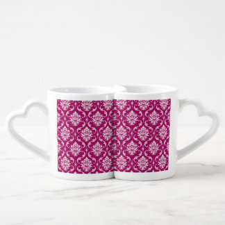 Red-Violet White Classic Damask Pattern Lovers Mugs