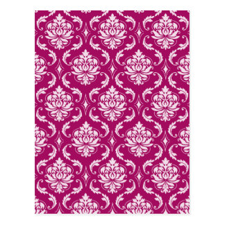 Red-Violet White Classic Damask Pattern Postcard