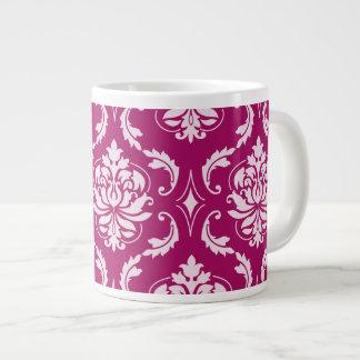 Red-Violet White Classic Damask Pattern Extra Large Mug