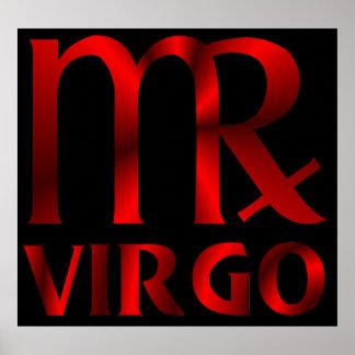 Red Virgo Horoscope Symbol Posters