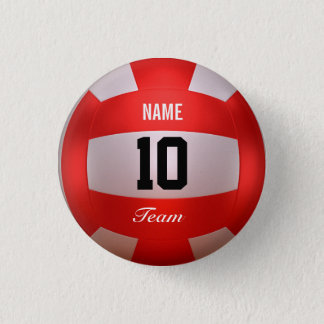 Red Volleyball 3 Cm Round Badge