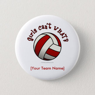 Red Volleyball 6 Cm Round Badge