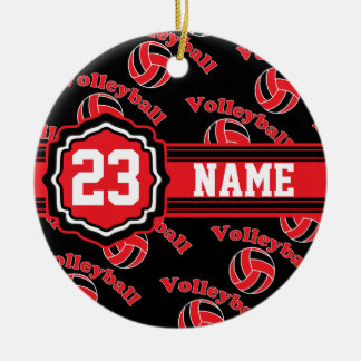 Red Volleyball Christmas Ornament