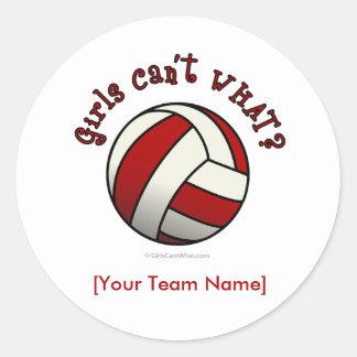 Red Volleyball Classic Round Sticker