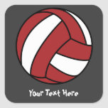 Red Volleyball (customisable) Square Sticker