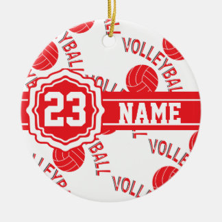 Red Volleyball Christmas Ornaments
