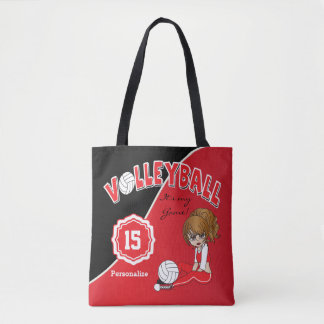 Red Volleyball Diva Girl Tote Bag
