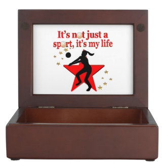 RED VOLLEYBALL IS MY LIFE DESIGN KEEPSAKE BOXES