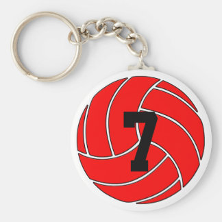 Red Volleyball Keychain (Key Ring)