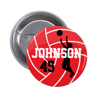 Red Volleyball with Silhouette Player 6 Cm Round Badge