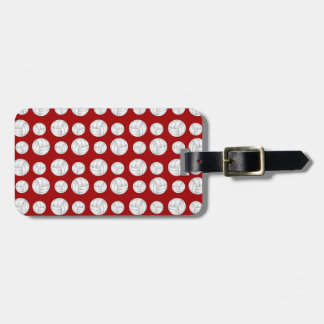 Red volleyballs pattern luggage tag