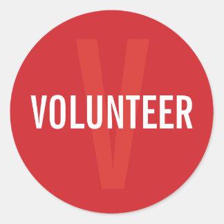 Red Volunteer Badge Classic Round Sticker