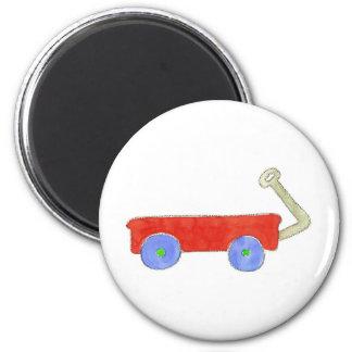 Red Wagon 6 Cm Round Magnet