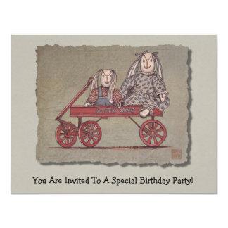 Red Wagon, Rabbit & Dolls 11 Cm X 14 Cm Invitation Card