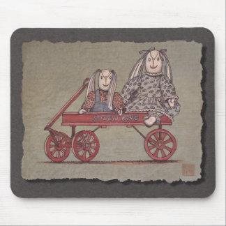 Red Wagon, Rabbit & Dolls Mouse Pad