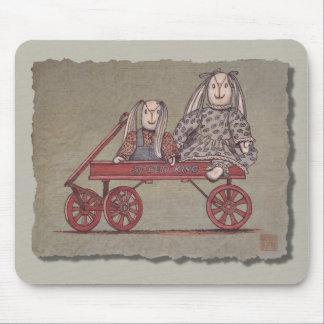 Red Wagon, Rabbit & Dolls Mousepads