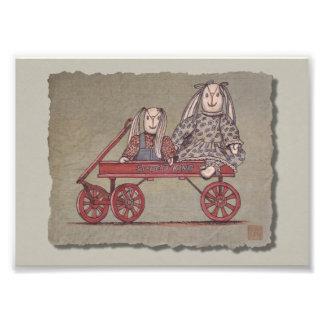Red Wagon Rabbit Dolls Photo