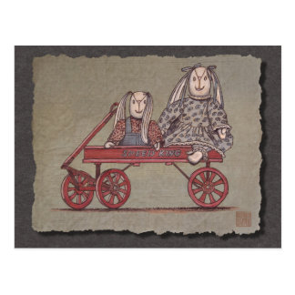 Red Wagon, Rabbit & Dolls Postcard